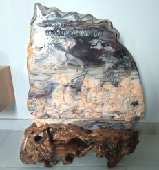 Tranh đá 3D nguyên khối cao 140cm gồm chân đế gỗ rừng tự nhiên