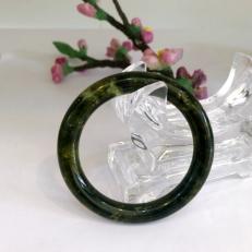 Vòng tay ngọc serpentine bản tròn đũa nhiều size ngọc xanh đen thấu quang