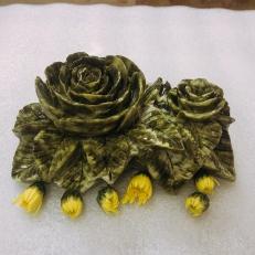 Quà tặng hoa hồng cắm bút ngọc serpentine độc đáo