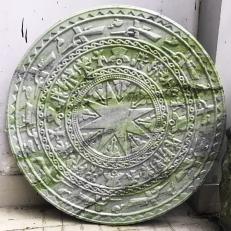 Mặt trống đồng đá serpentine điêu khắc 3D